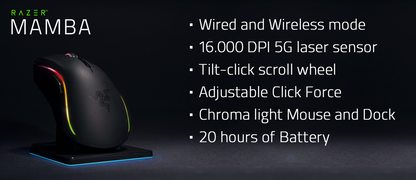 Fom Meet The Razer Mamba 5g Chroma Wireless Gaming Mouse New Features Unique Adjustable Click Force Technology Which Allows Gamers To Freely Adjust Level Of Needed Activate